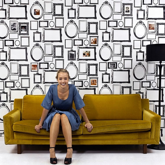 "Her new design, ""The Family"" fills your walls with black and white vintage"