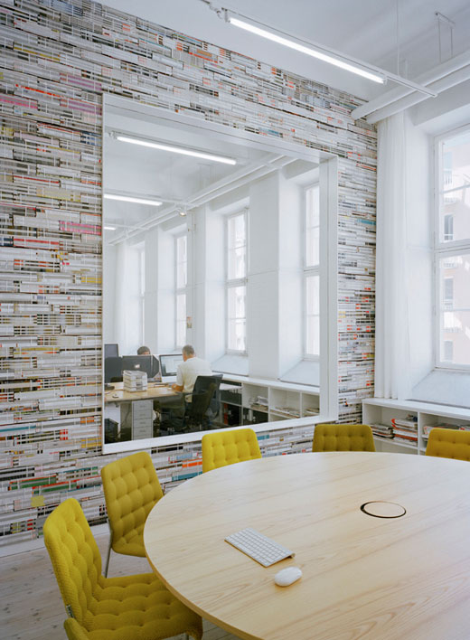 Design studio creates walls from stacks of recycled for Decor agency